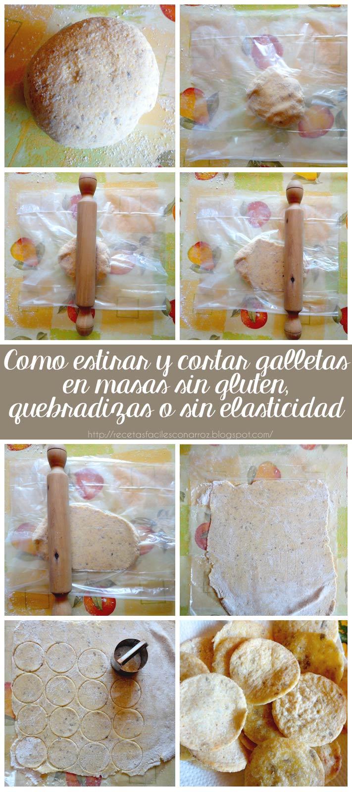 paso a paso de como amasar, estirar y cortar galletas en masa sin gluten, sin elasticidad y quebradiza