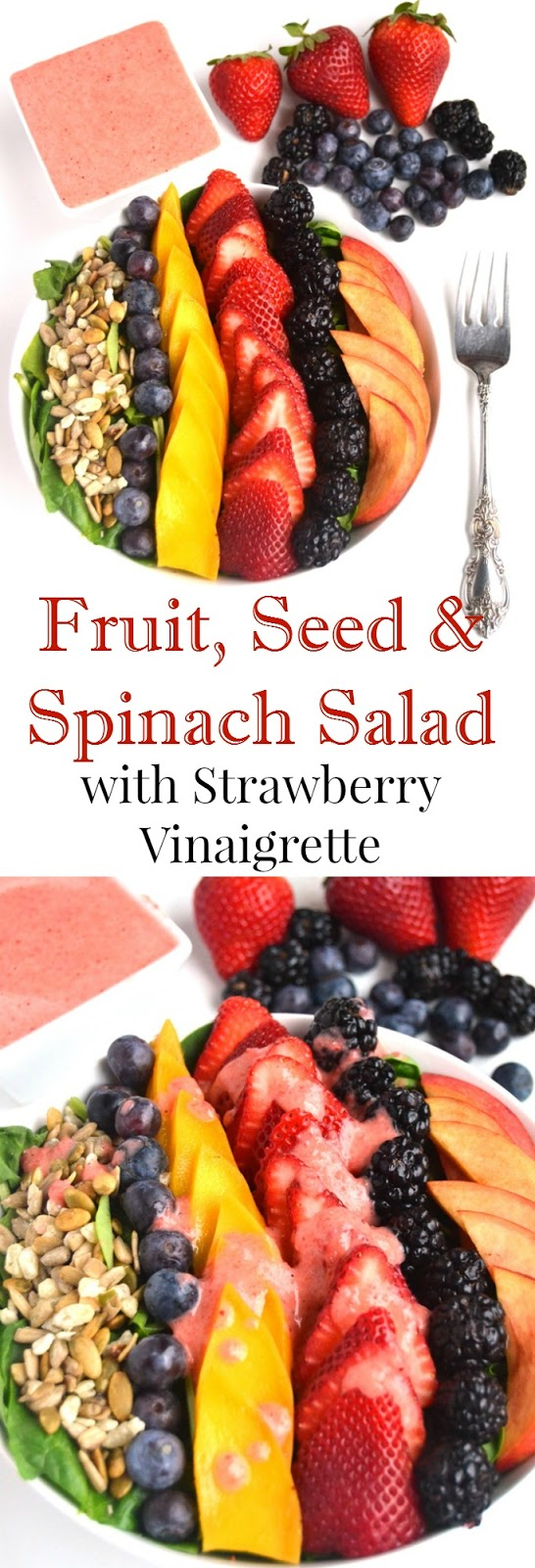 Fruit, Seed and Spinach Salad with Strawberry Vinaigrette features a fresh salad with strawberries,  blueberries, blackberries, mango, dried fruit and seeds all topped with a homemade fruit vinaigrette. www.nutritionistreviews.com