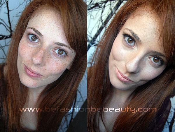 Antes y después del tutorial para ocultar pecas y manchas.