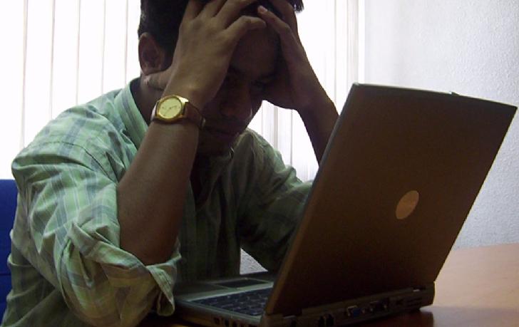 Stressed career man
