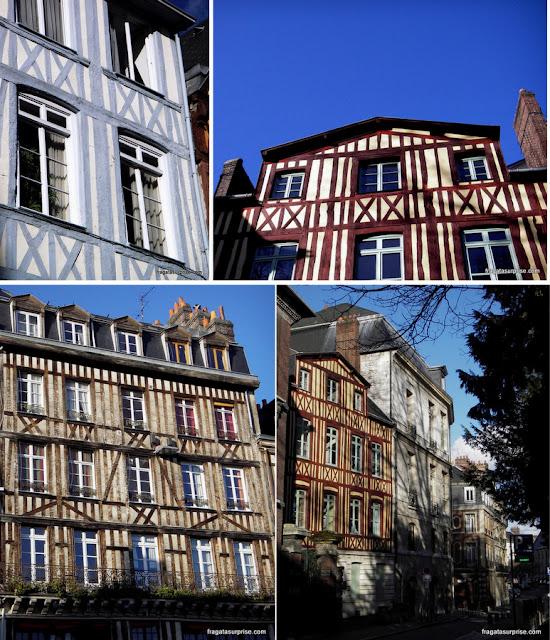 Casas típicas da Normandia, com fachada em enxaimel, em Rouen, França