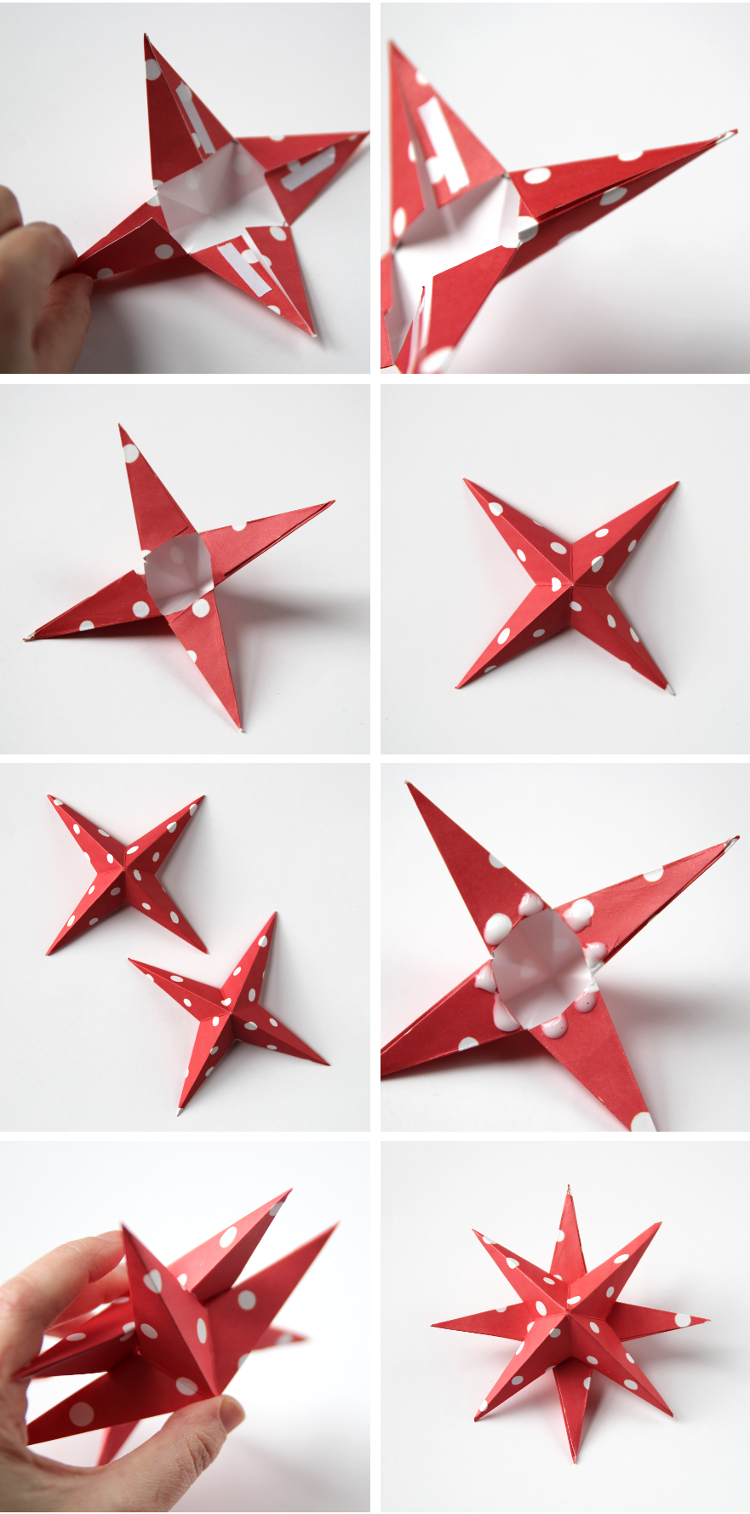 Diy 3d paper star christmas decorations gathering beauty for Decoration paper