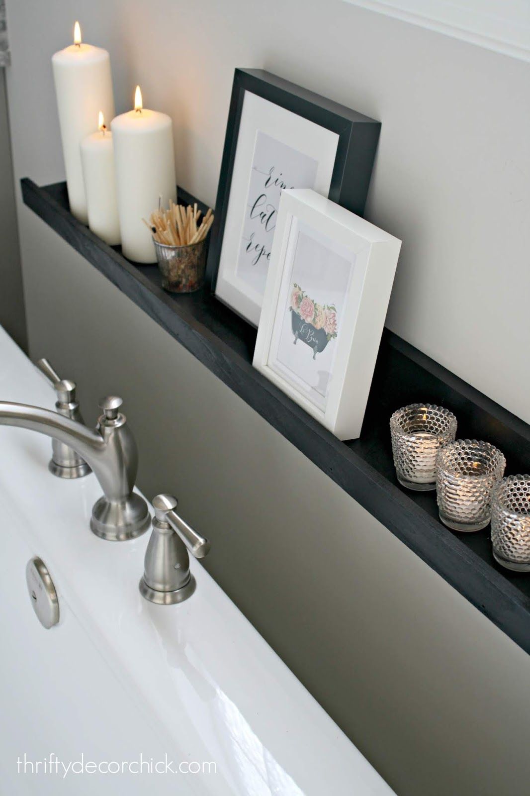 DIY picture ledge project for candles next to tub