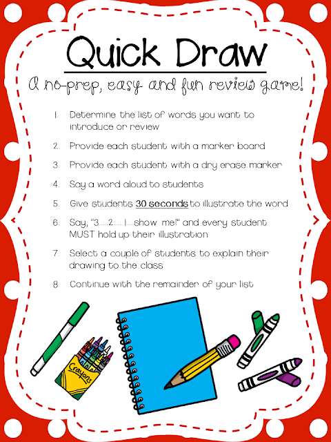 Classroom Review Ideas ~ Mind sparks quick draw a great game to review vocabulary