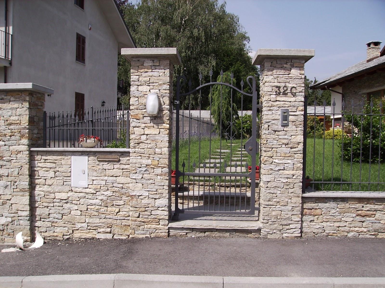 La pietra di luserna muretti e rivestimenti in liste e for Colonne in pietra per cancelli