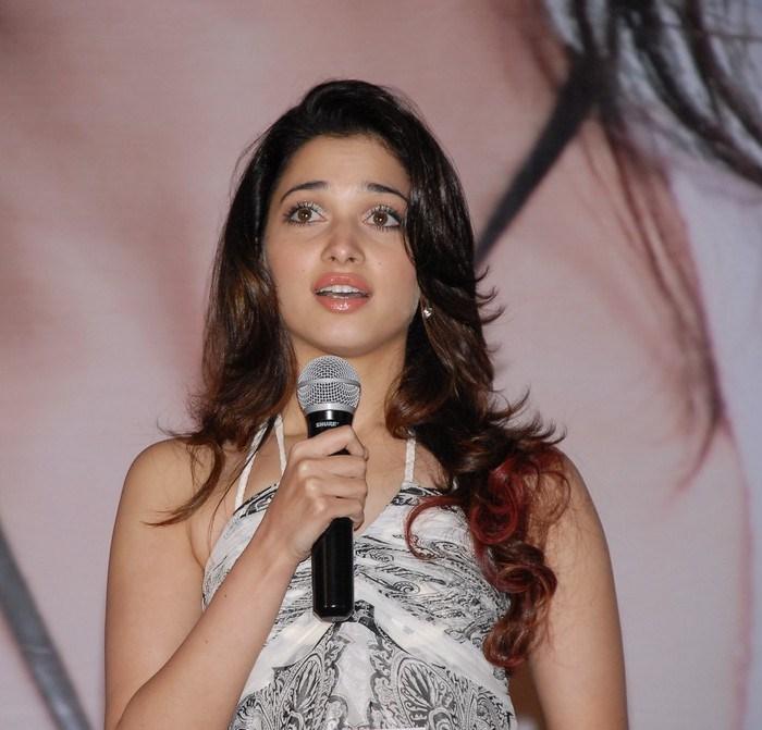 Bollywood Hot Actress Tamannaah Long Hair Stills in Black Gown