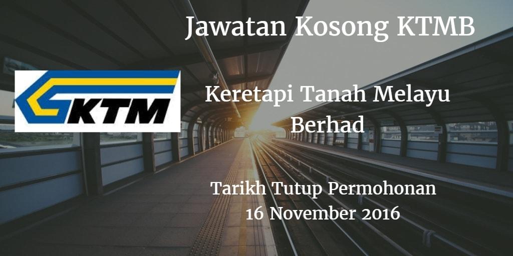Jawatan Kosong KTMB 16 November 2016