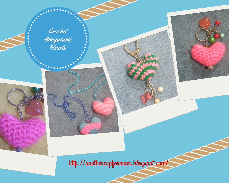 Crochet Hearts Necklace and Keychains