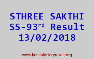 STHREE SAKTHI Lottery SS 93 Results 13-02-2018