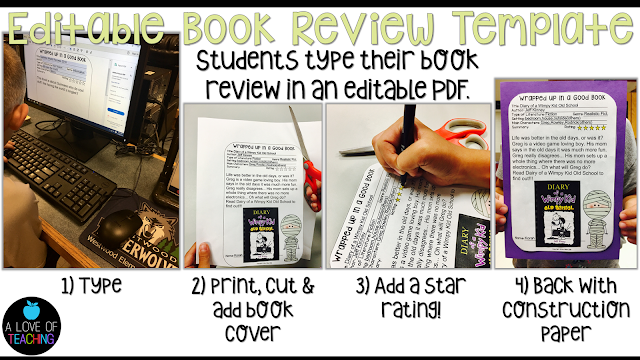 This is an editable PDF for students to use while writing book reviews.