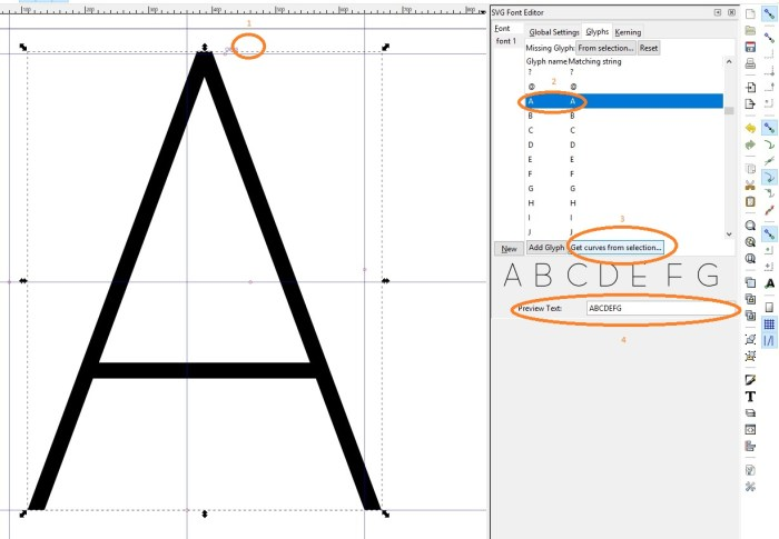 Inkscape Software - SVG Font Editor