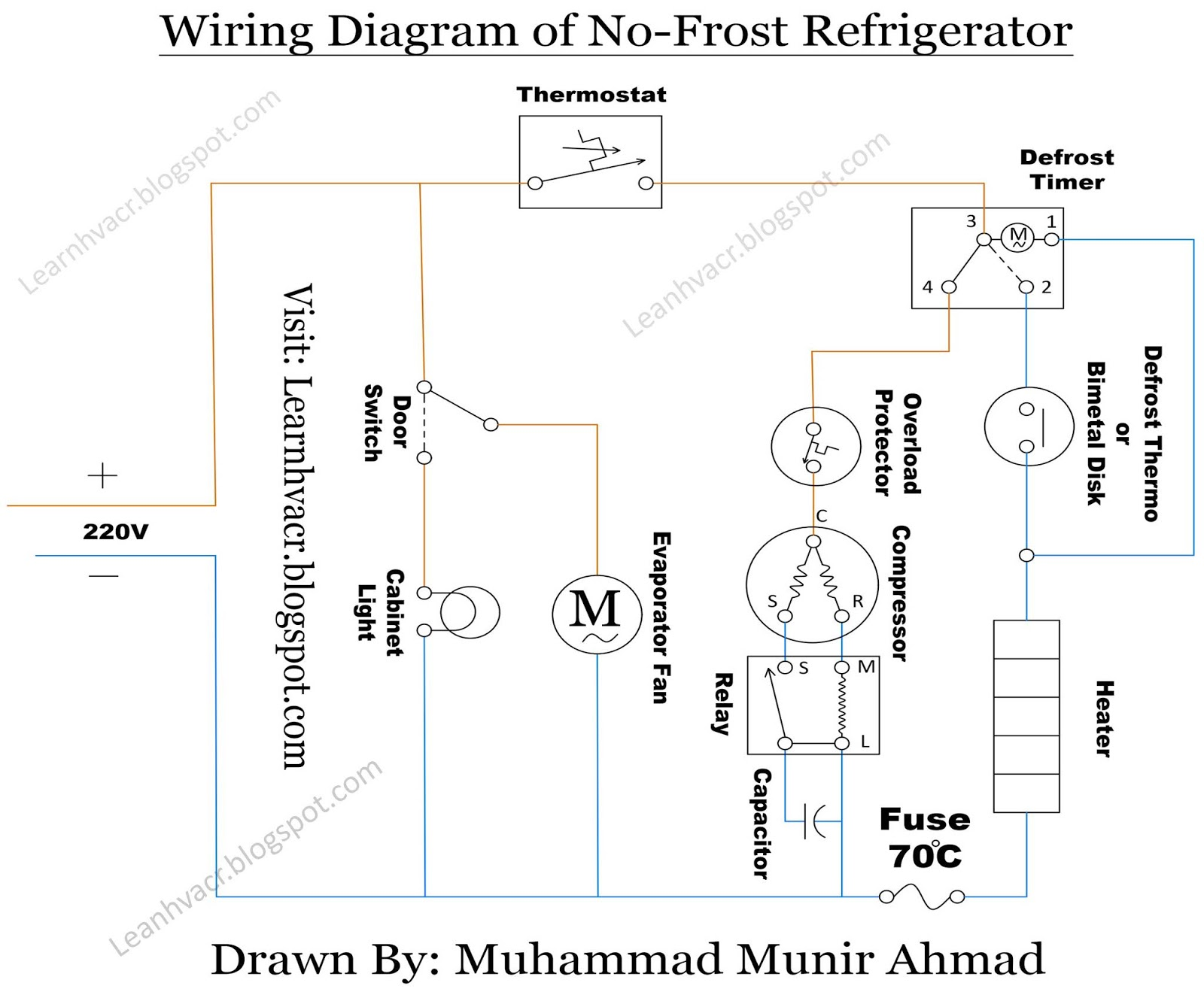 LEARN THE HVAC & REFRIGERATION: No Frost Refrigerator Wiring Diagram | HVACRlearn the hvac & refrigeration - blogger
