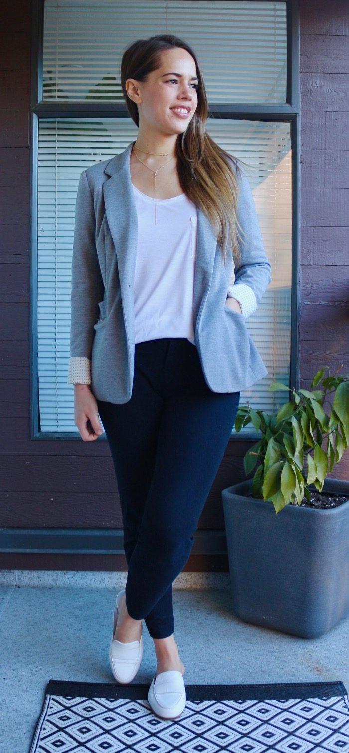 Jules in Flats - Grey Blazer and White Loafer Mules for Work