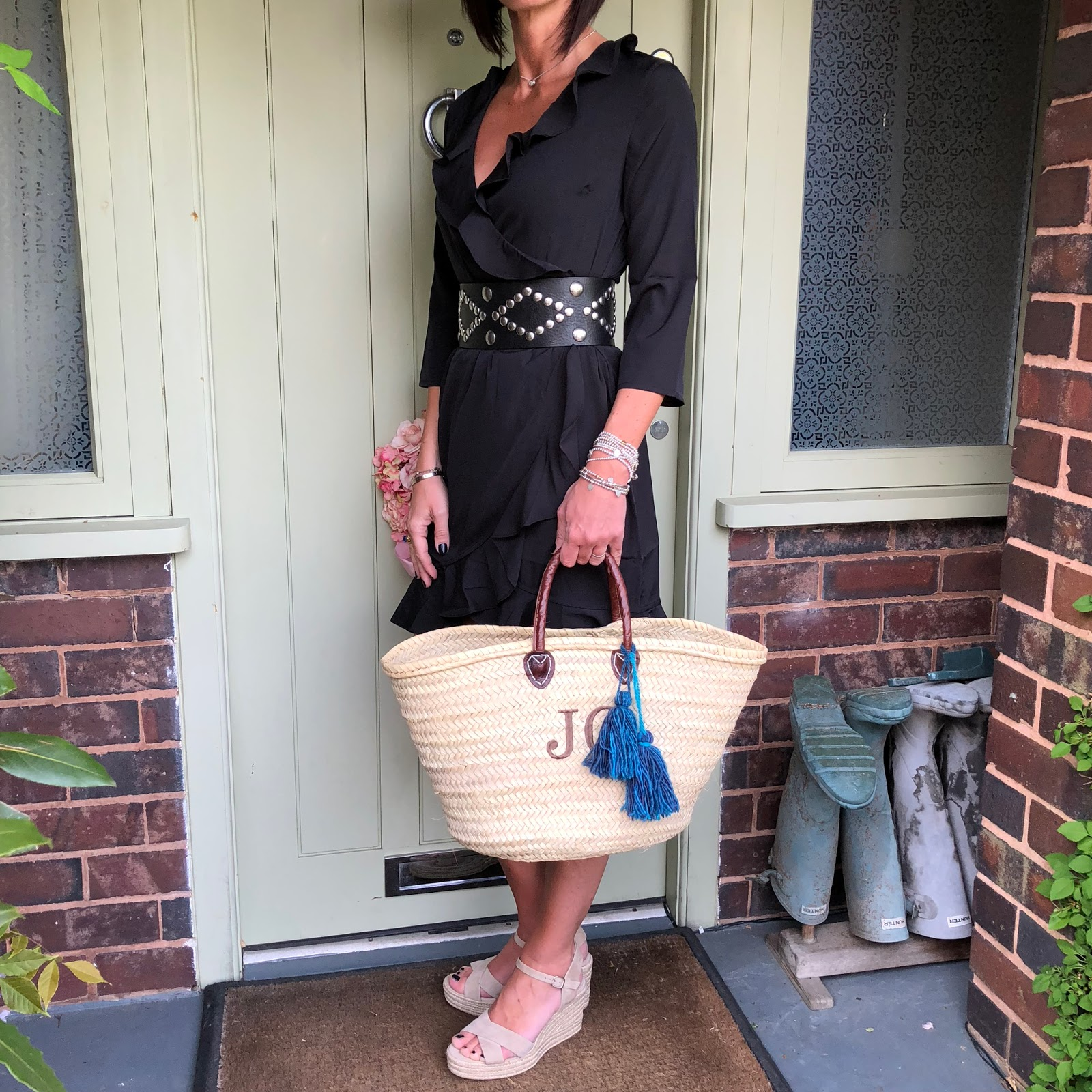 my midlife fashion, tesco f and f clothing vero moda frill trim wrap dres, initially london covent garden medium basket shopper, the white company espadrille wedge shoes, isabel marant studded waist belt, marks and spencer panama hat