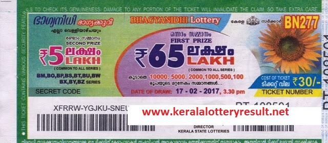 Bhagyanidhi lottery bn 283 results 31-3-2017- Kerala Lottery Result Today