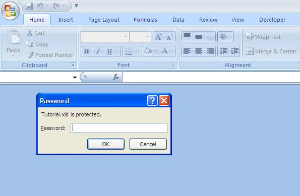 lock an excel file with password