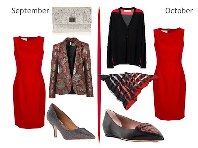 cardigan.  Red dress - Valentino, clutch - Anya Hindmarch, blazer...
