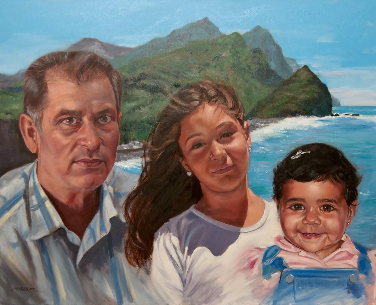 Oleo de un retrato de grupo con tres personas.