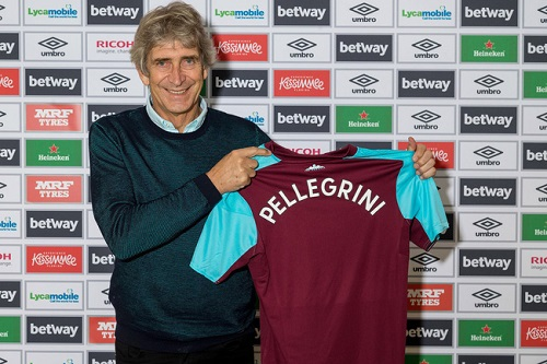 Pellegrini trong lễ nhậm chức HLV trưởng West Ham