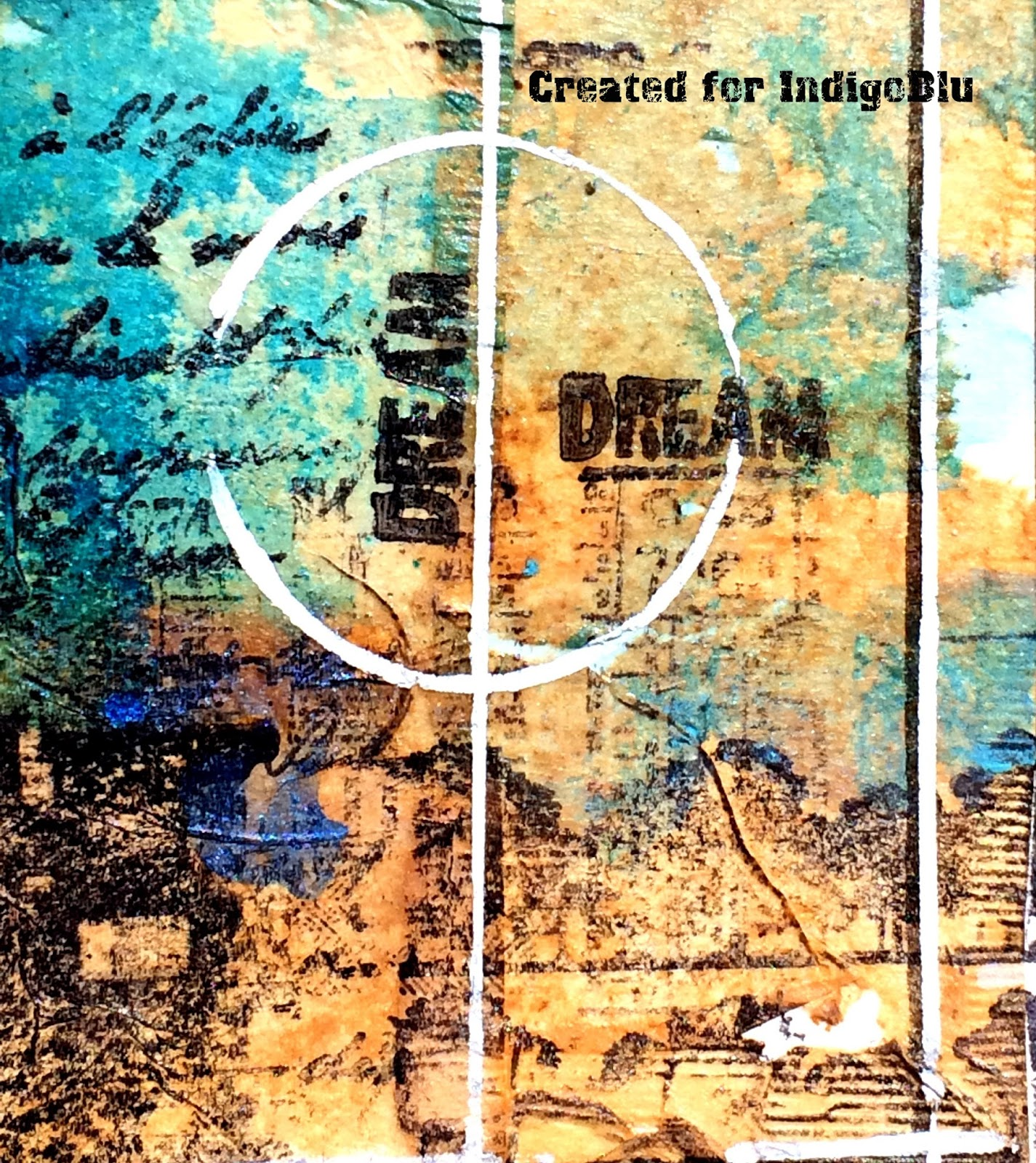 Art journal page by Solange Marques featuring IndigoBlu stamps.-03