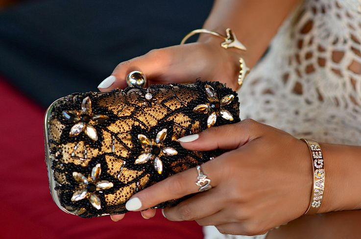 Gold clutch, Floral beaded clutch, Pieces bag, Myca Couture Jewelry