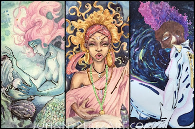 Mermaid, Witch, & Cosmonaut Trio watercolor paintings by Johnny Perez