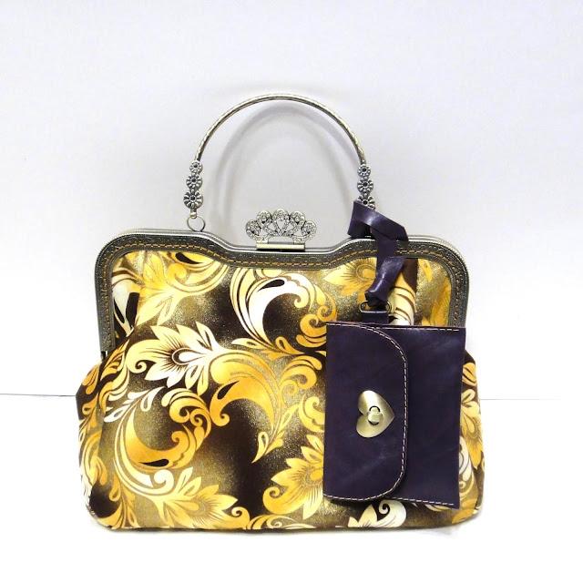 Вечерняя сумочка желтая с золотым напылением. Сумка с фермуаром - авторская сумка, ручная работа 2019