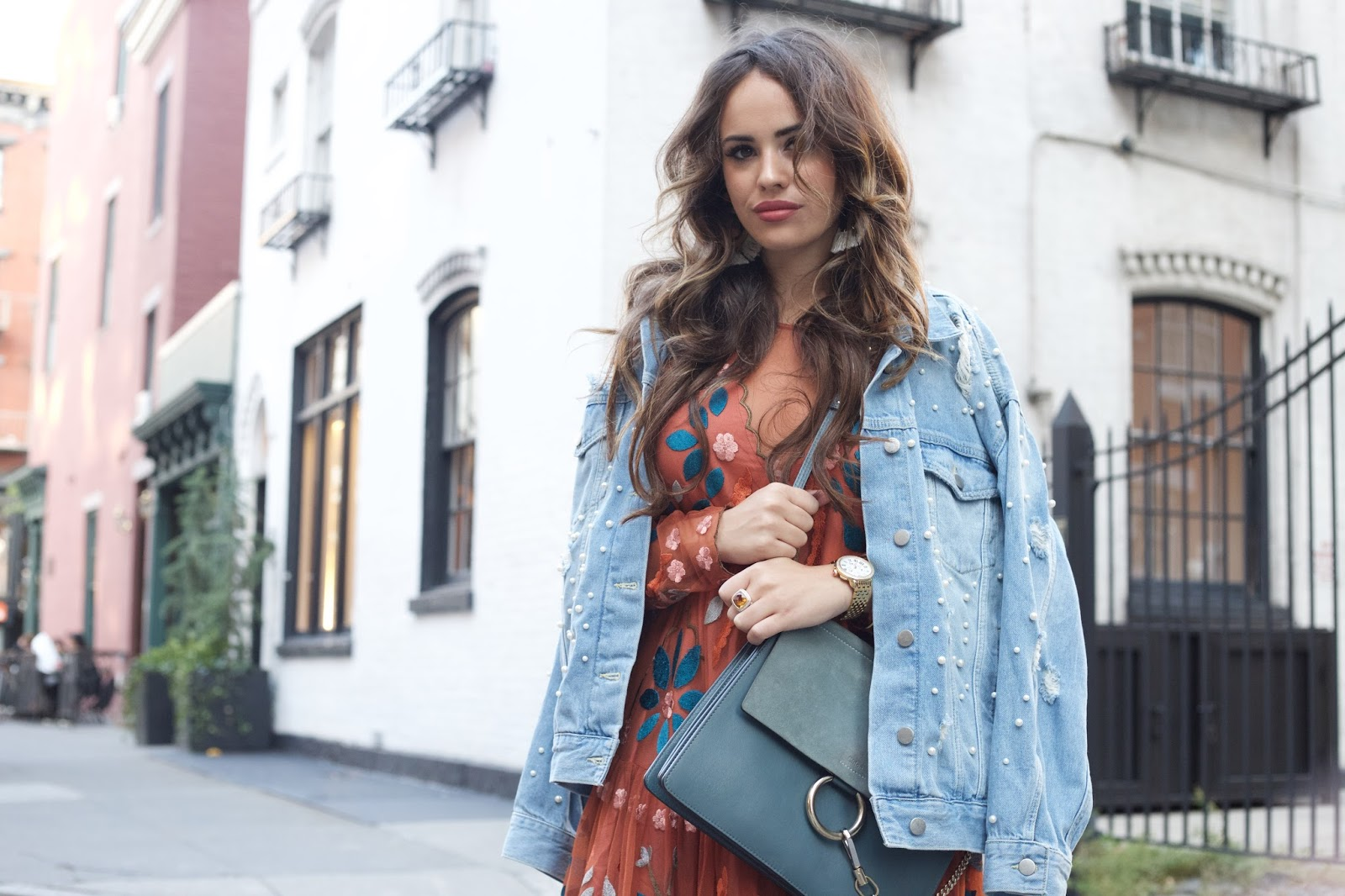 fall dress, transitional dress, embroidered dress, orange dress, free people dress, oversized denim jacket, embroidered denim jacket, gold heels, free people denim jacket, how to dress for fall in nyc, nyc style, top nyc blogger, nyc blogger style, elle harper, elle harper blog, new york style, shoulder jacket, funky fall style, what to wear in nyc in september, what to wear in nyc in october, west village style, new york street style, city style, west village girl