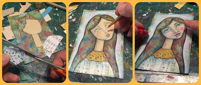 Progress Pics of the Mixed Media Art -Melody