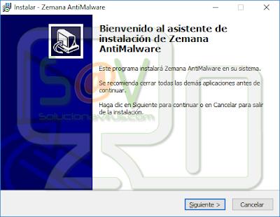 """Clicaremos en el botón """"Siguiente"""" para instalar Zemana AntiMalware"""