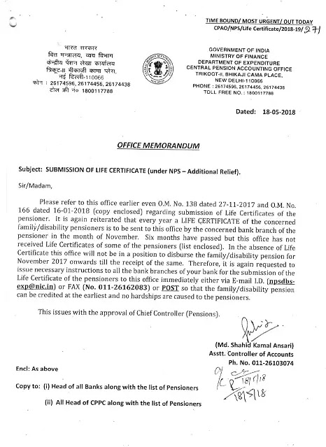 submission-of-life-certificate-under-nps-additional-relief-18.5.18
