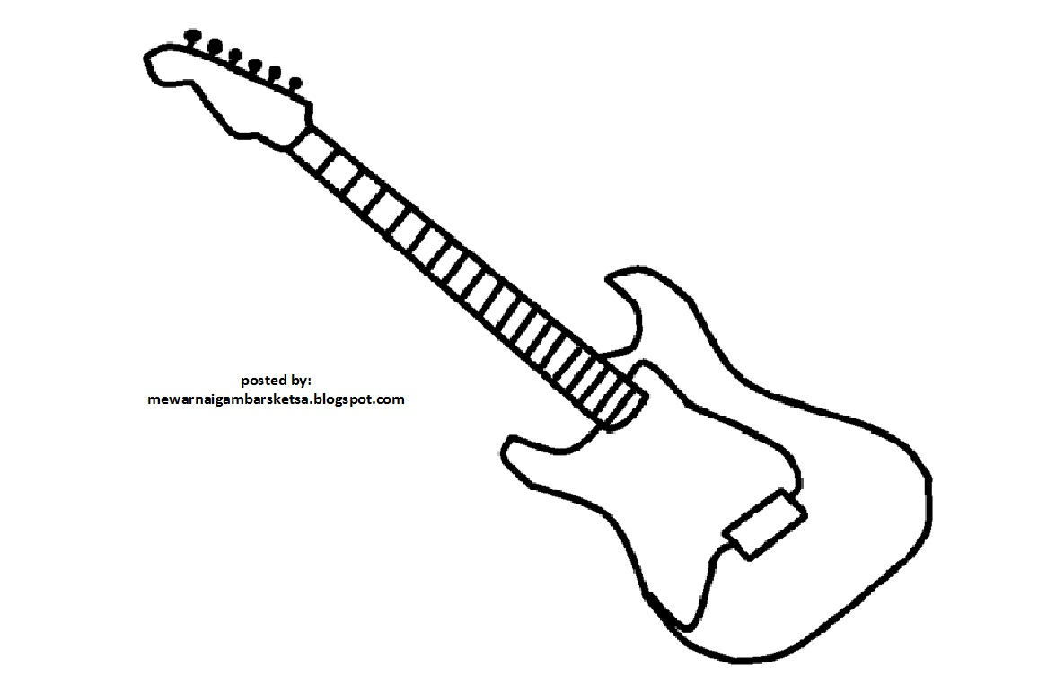 Mewarnai Gambar Sketsa Gitar 1 Download Benda Mengenal Coloring Guitar