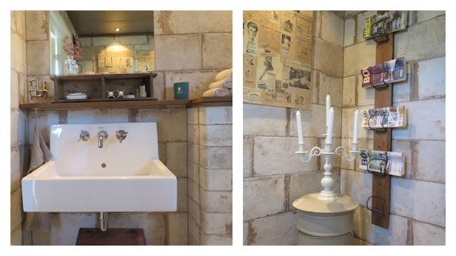 Detaljer fra nyoppusset wc hos Hanne. Furulunden på besøk hosHuniHusgaarden.