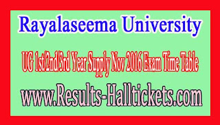 Rayalaseema University UG 1st/2nd/3rd Year Supply Nov 2016 Exam Time Table
