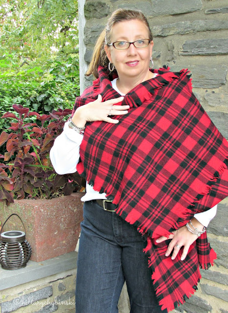 Kate Spade Blanket Scarf styled as a wrap