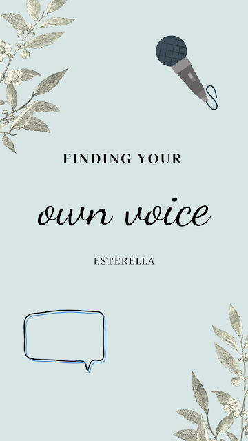 Finding your own voice- graphic containing a microphone and speech bubble