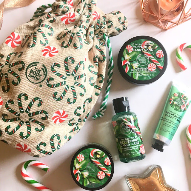 The Body Shop peppermint sack flatlay