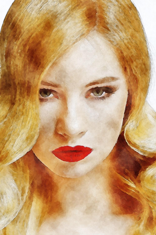 水彩画のブロンドヘアの女性