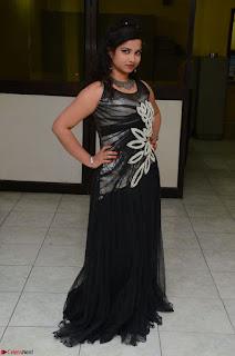 Shrisha Dasari in Sleeveless Short Black Dress At Follow Follow U Audio Launch 011.JPG