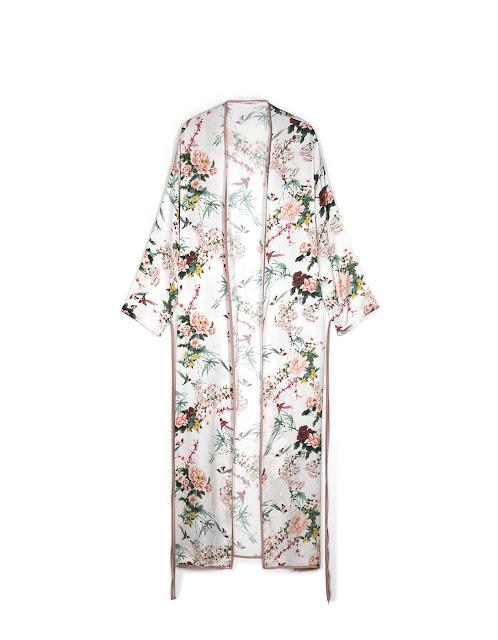 kimono lungo a fiori stradivarius