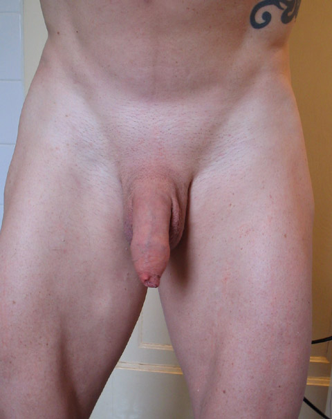 Flaccid shaved cock and balls the question