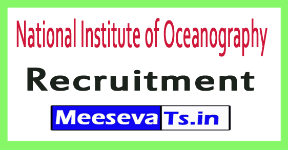National Institute of Oceanography NIO Recruitment