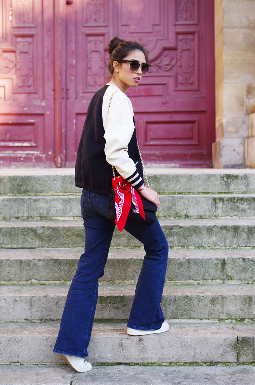 Elizabeth l flare outfit l Isabel Marant teddy Weekday denim jeans h&m body Miu Miu sunglasses Adidas Stan Smith vintage bandana Chanel bag l THEDEETSONE l http://thedeetsone.blogspot.fr
