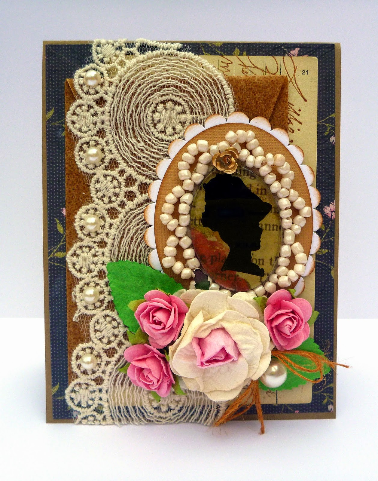 Devonshire Lady Beaded Silhouette Cabochon Romantic Card by Dana Tatar for Couture Creations