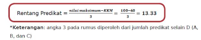 rumus rentang predikat raport kurikulum 2013