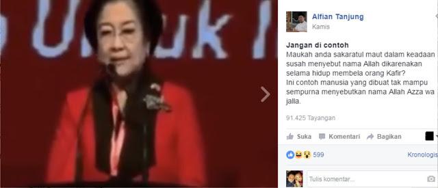 Beredar Video Megawati Kesulitan Sebut Nama Allah, Alfian Tanjung: Maukah Anda Sakaratul Maut Susah Sebut Nama Allah?