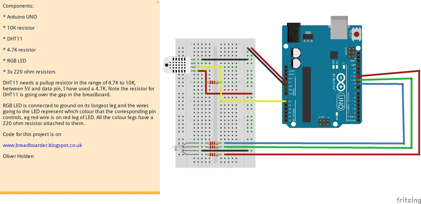 Breadboarders: Arduino with a DHT11 and RGB LED which changes colour