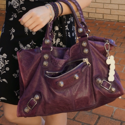 Balenciaga raisin purple 2009 giant silver G21 hardware work bag | awayfromtheblue