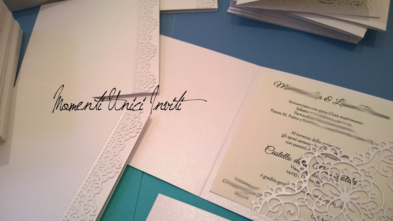6 Le partecipazioni di M&L - con guest book in coordinatoGuest Book Partecipazioni intagliate Total White