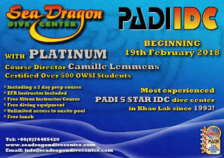 Next PADI IDC in Khao Lak, Thailand starts 19th February 2018